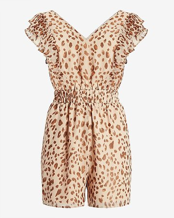 Leopard Ruffle Sleeve Romper | Express