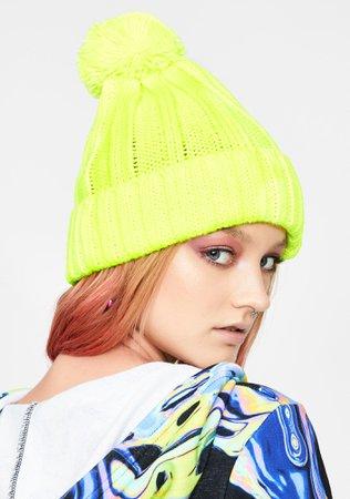 Neon Yellow Ribbed Knit Pom Pom Beanie | Dolls Kill