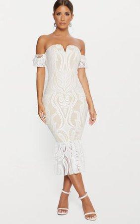 White Bardot Lace Frill Hem Midi Dress | PrettyLittleThing USA