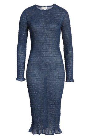 Never Fully Dressed Metallic Fleck Smocked Long Sleeve Dress | Nordstrom