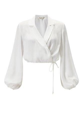 Miss Selfridge Ivory Drawstring Pyjama Crop Top