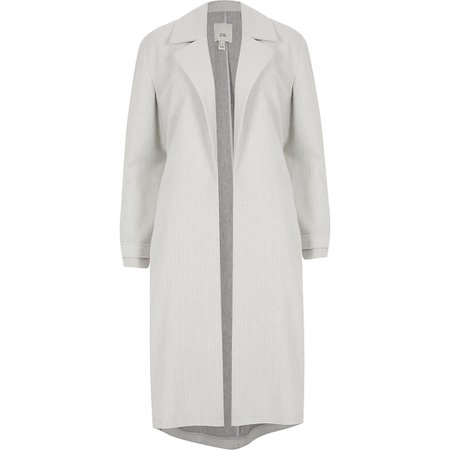 Grey open front jersey duster jacket | River Island