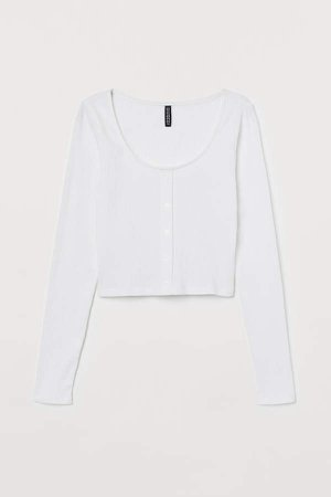Cropped Jersey Top - White