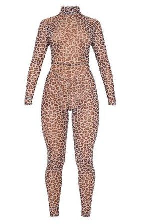 Brown Leopard Mesh Jumpsuit | PrettyLittleThing