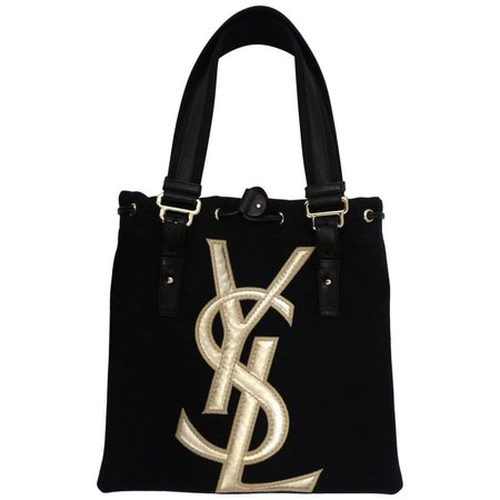 Yves Saint Laurent Canvas and Leather Tote, 1990s For Sale at 1stdibs
