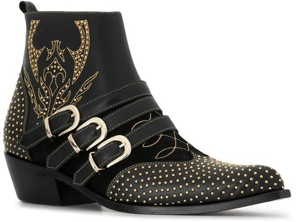 Penny studded buckle ankle boots