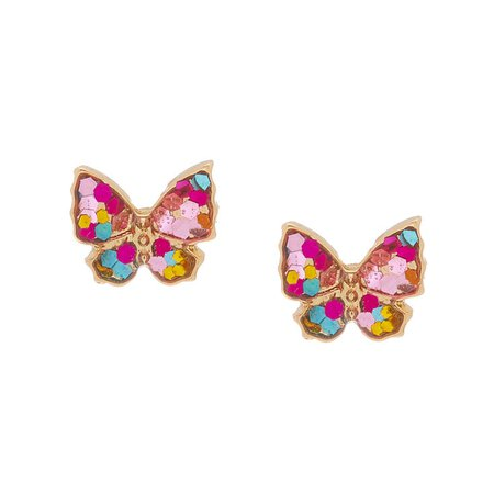 18Kt Gold Plated Stained Glass Butterfly Earrings | Claire's US