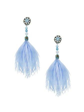 Ranjana Khan Beaded Ostrich Feather Clip-On Drop Earrings   SaksFifthAvenue