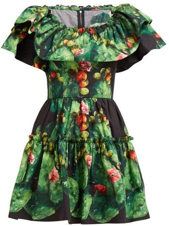 Cactus & Floral Print Cotton Poplin Mini Dress - Womens - Green Multi