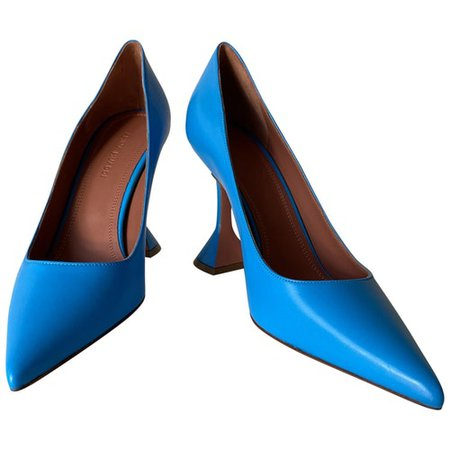 Leather heels AMINA MUADDI Blue size 37 EU in Leather - 9459474