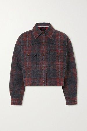 Red Oversized checked brushed-denim jacket | Alexander Wang | NET-A-PORTER