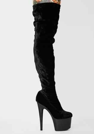 Vday Velvet Thigh High Stiletto Boots Platform Black | Dolls Kill