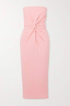 Lindsey Strapless Gathered Crepe Midi Dress - Pastel pink