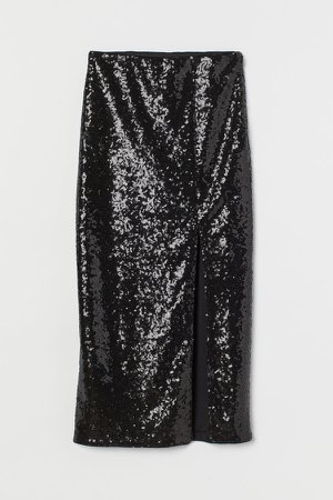 Slit-front Sequined Skirt - Black