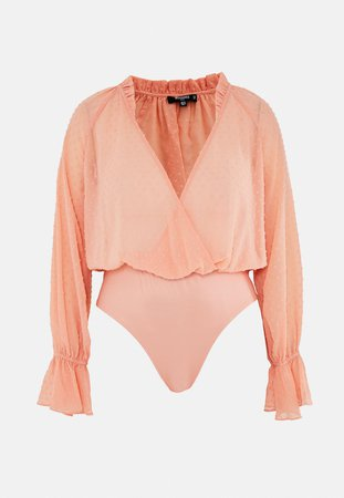 Plus Size Peach Dobby Mesh Wrap Bodysuit | Missguided