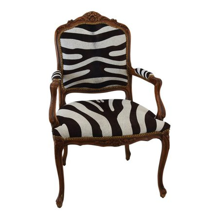 1950s Carved Hardwood & Tiger Cowhide Upholstered Armchair   Chairish