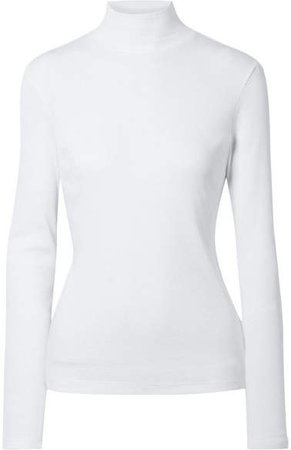 Ninety Percent - Kaye Ribbed Organic Cotton-jersey Turtleneck Top - White