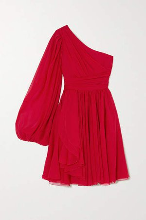 One-sleeve Draped Silk-georgette Dress - Red