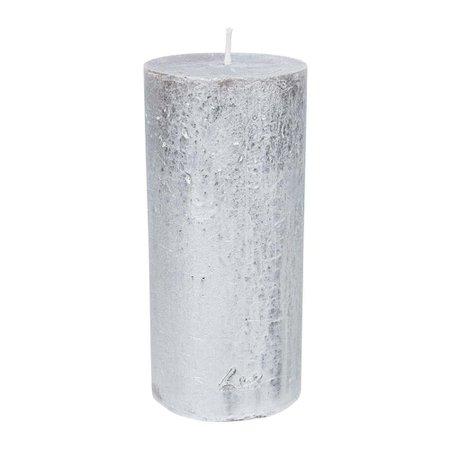Amara Rustic Metal Pillar Candle - Silver   Amara