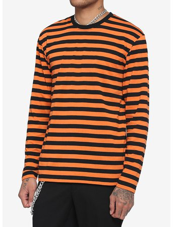 Orange & Black Stripe Long-Sleeve T-Shirt