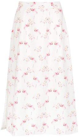 flamingo print straight skirt