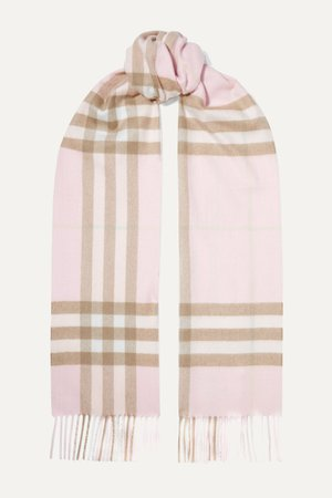 Pastel pink Fringed checked cashmere scarf | Burberry | NET-A-PORTER