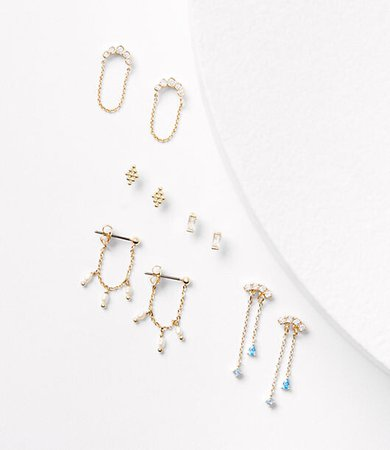 Pearlized Pave Charm Earring Set