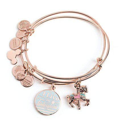 Amazon.com: Disney Parks Alex & ANI I Live in Fantasyland Bangle Bracelet Set: Jewelry