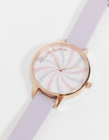 Olivia Burton OB16CD03 Glitter lolly dial leather watch in purple | ASOS