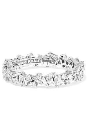 Suzanne Kalan | 18-karat white gold diamond ring | NET-A-PORTER.COM
