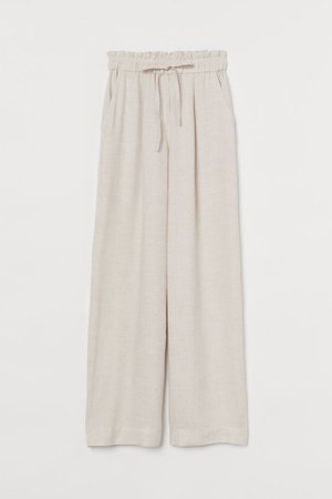 Wide-cut Pants - Light beige - Ladies | H&M US