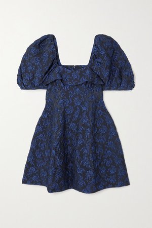 Ruffled Cloque Mini Dress - Navy