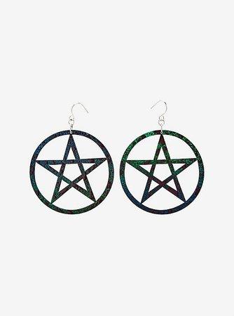 Double Sided Pentagram Drop Earrings