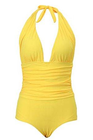 Honlyps One Piece Swimsuit High Waisted Bathing Suit for Women Swimwear Polyamide V-Neck Monokini Yellow at Amazon Women's Clothing store: