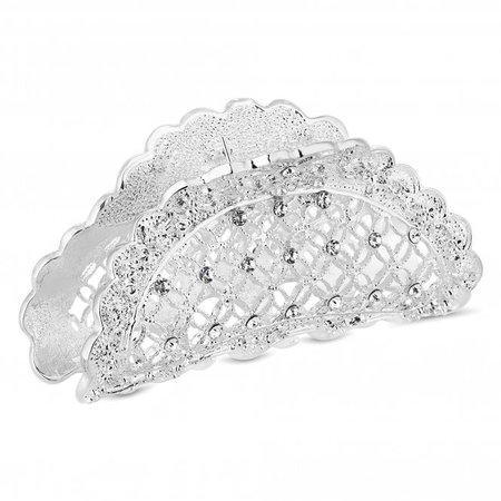 MOOD By Jon Richard Silver Plated Clear Floral Bulldog Pin / Clip Hair - Jewellery from Jon Richard UK
