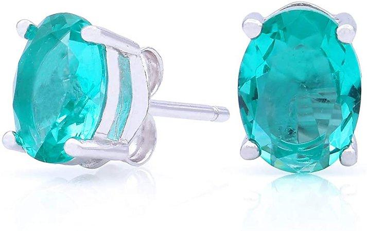 "Amazon.com: BLUEJOY Sterling Silver Stud Earrings – Sparkling Simulated Oval Cut Diamond ""Aquamarine"" Cubic Zirconia Earrings: Jewelry"