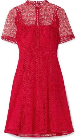 Guipure Lace Mini Dress - Red