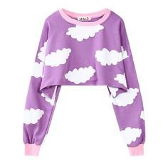 Cute clouds and sky printed round neck loose sweatershirt