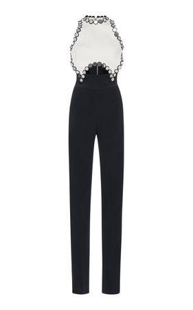 Circle-Trimmed Crepe De Chine Jumpsuit by David Koma SS19