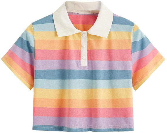 SweatyRocks Women's Collar Half Button Short Sleeve Rainbow Striped Crop Top T-Shirt Multi Medium at Amazon Women's Clothing store