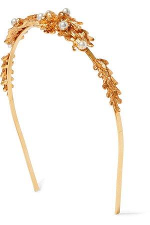 Oscar de la Renta   Faux pearl-embellished gold-tone headband   NET-A-PORTER.COM