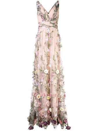 Marchesa Notte V-Neck Floral Appliqué Gown Ss20 | Farfetch.com