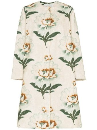 By Walid Tanita Lotus Flower Print Coat - Farfetch