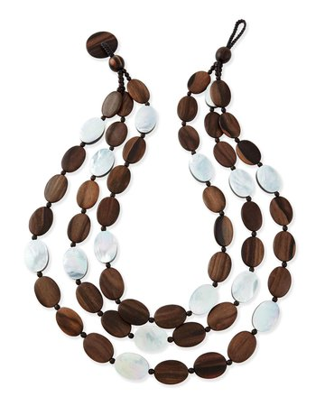 "Viktoria Hayman 30"" Tiger Wood & Mother-of-Pearl Triple Strand Necklace"