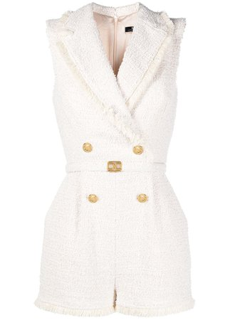 Elisabetta Franchi double-breasted tweed playsuit white