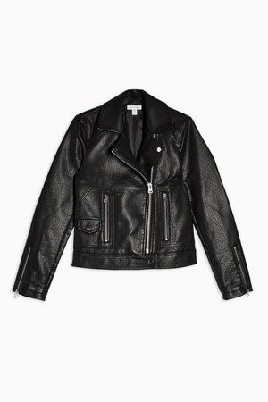 Black Faux Leather Biker Jacket | Topshop