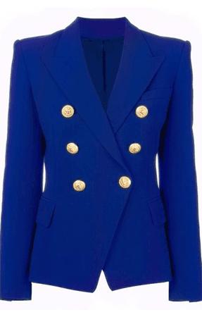 Double Breasted Gold Button Blazer - Cobalt Blue – Socialitte