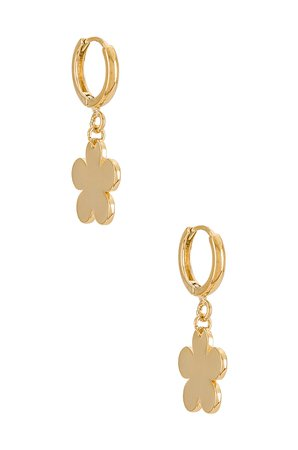 Cloverpost Daisy Huggie Hoop Earrings in Yellow Gold | REVOLVE