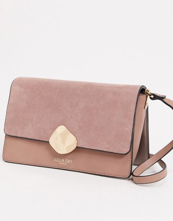 Luella Gray cross body bag in pink with contrast suede front flap and molten gold buckle | ASOS
