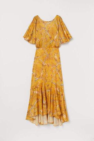 Crinkled Satin Dress - Yellow
